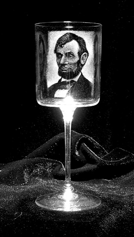 Stipple engraved portrait on a Da Vinci Nuvola wine stem.