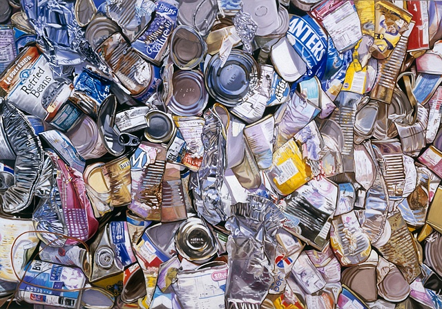 While these are recycled cans found at the recycling center, for me they are all about the reflected light.