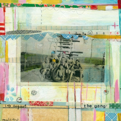 acrylic and mixed media on board with image transfer by sarah ahearn bellemare.
