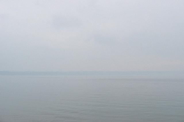 Hazy August morning at dawn on Cayuga Lake