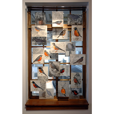 Mixed media installation expressing memory and loss by Cristina de Gennaro.  Installed at the Westchester Arts Council, White Plains, NY.
