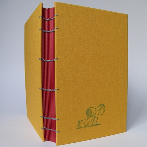 Book #136. Coptic structure with letterpress print on cover.