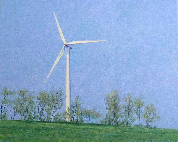 Drexler painting spring landscape windmill turbine renewable clean energy sustainable rural economy near Cazenovia Hamilton Madison county, upstate New York.