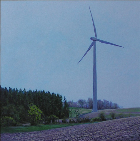 Henry J. Drexler painting spring landscape windmills turbines renewable clean energy sustainable rural economy  near Bouckville Hamilton Madison county  upstate New York.