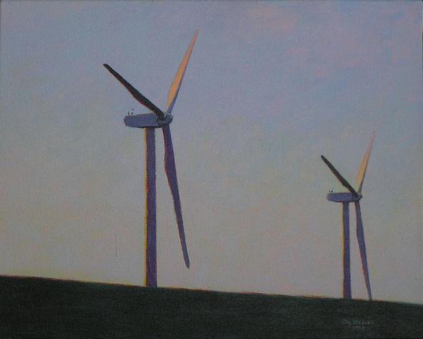 Drexler painting evening landscape windmills turbines renewable clean energy sustainable rural economy near Cazenovia Hamilton Madison county, upstate New York.
