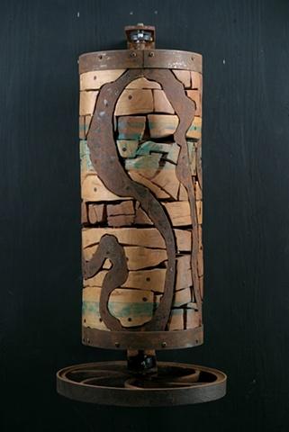 Wall sculpture, prayerwheel, wood sculpture