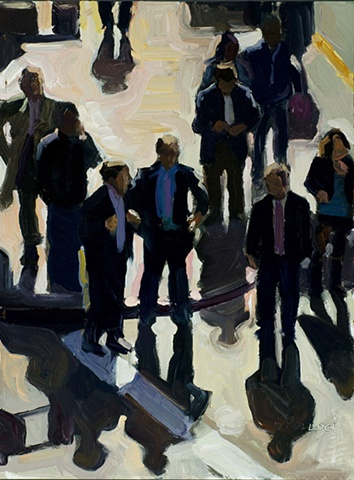 Multiple people in suits, being backlit, long shadows, being seen from above.