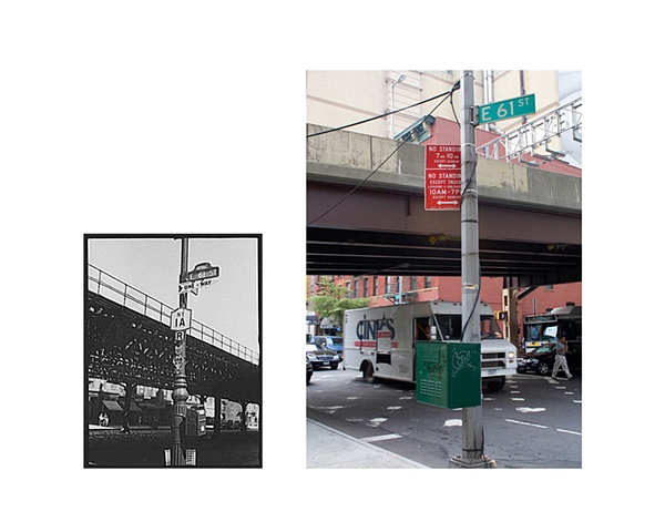 "61st Street between 1st and 3rd Avenue, Manhattan, New York. Street signs.  1938 & 2006 Gelatin Silver print and Digital C-print 8"" x 10"" and 20"" x 26"""