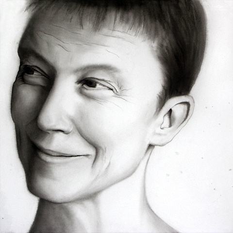 """Naked"", ink wash on paper portrait by Barbara Stout, 24"" by 24"". From ""In the Grey,"" a series made up of larger than life ink wash on paper portraits with constructed ambiguous gender attributes of each face."