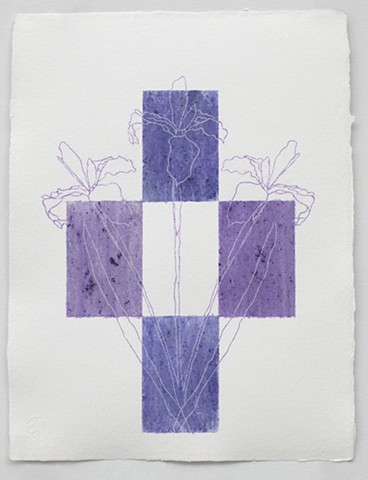 flower stain from an iris blossom arranged in a geometric abstraction