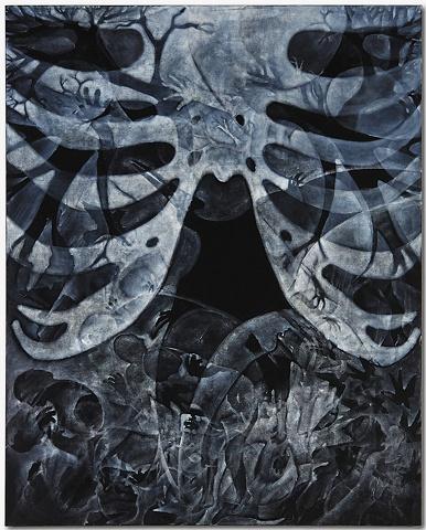 XRay Revealing Gastroliths - oilstick on canvas