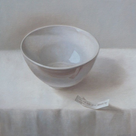 Elizabeth Malunowicz bowl, oil paint on canvas Chinese fortune cookies