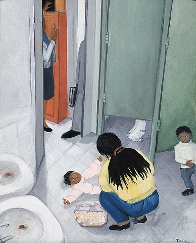gouache painting - woman changing a baby in a bathroom at a prison