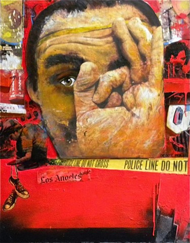 a m/m painting using artist's images, collage, acrylic, and spray paints