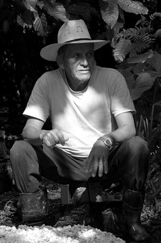 Felicio is taking a break from harvesting cacao; Villaflores, Tabasco, Mexico.