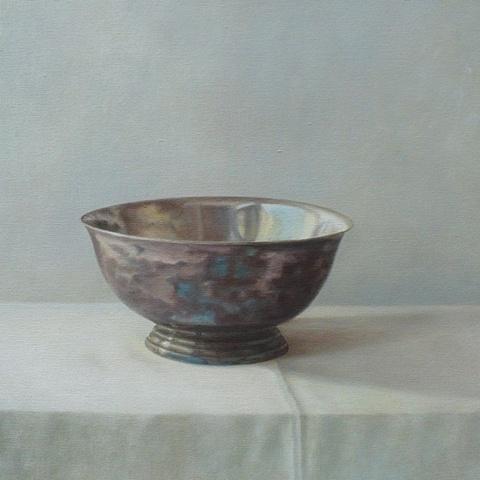 Elizabeth Malunowicz bowl, silver oil on canvas still life