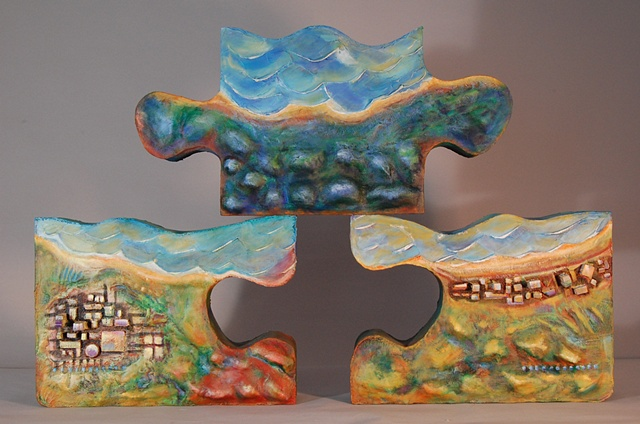 Constructed puzzlescape: acrylic, wood, plaster, fabric.