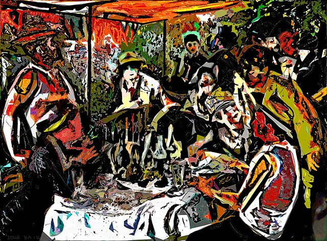 Renoir, Luncheon of the Boating Party, women, men, figures, composition, light, shadow, color, shapes, lines, forms, perception, drawing, abstract