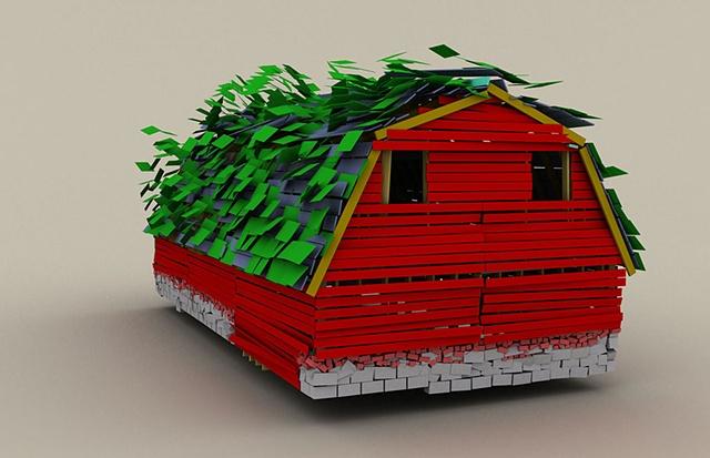Barn Fold, Digital print, 3D, digital