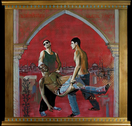 Painting from the Divine Beauty Series which depicts religious themes as contemporary fashion imagery