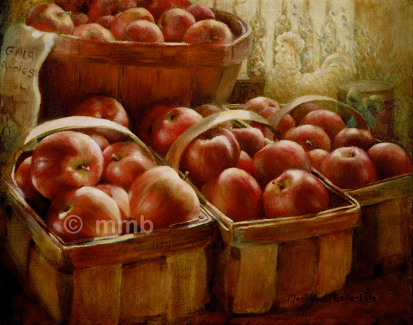 realistic oil painting of gala apples from fruit farm series