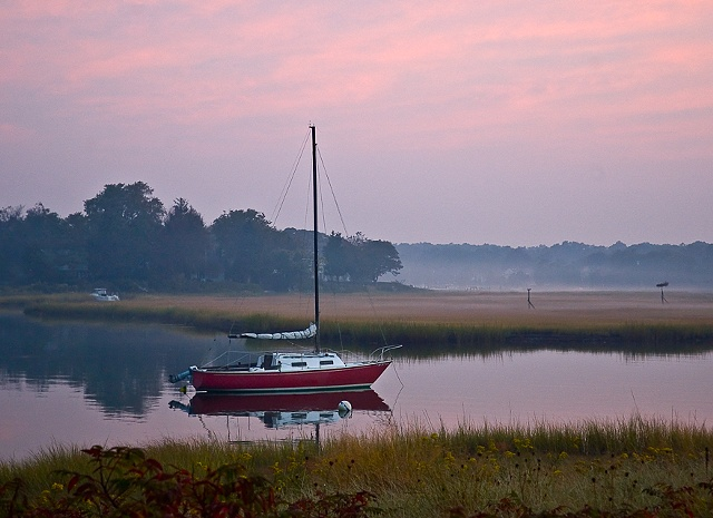 Red Sailboat by JoAnne Dumas