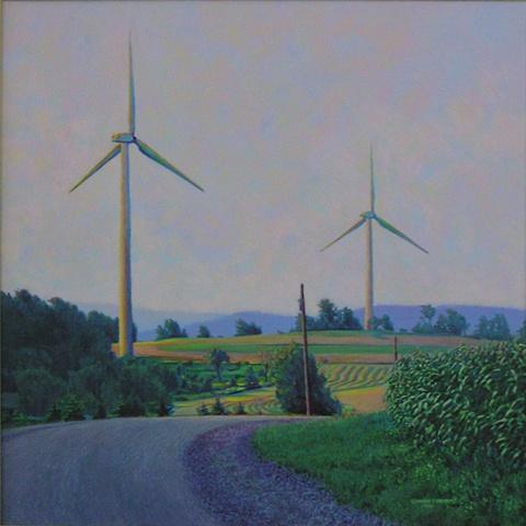 Drexler+painting+summer landscape+windmills+turbines+renewable+clean energy+sustainable rural economy+ near Bouckville+Hamilton+Madison county, upstate New York.