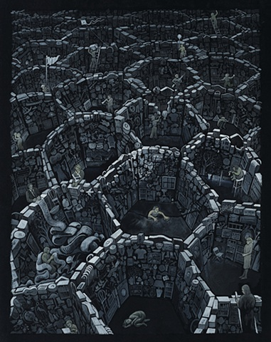 gouache painting on black paper - people in cells building walls of objects