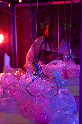 Blown glass fetus', fabric, interactive sculpture, installation,