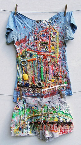 House paint and mixed media, landscape, canada, clothing