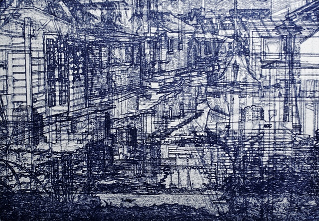 Intaglio Print using a non-toxic process, printmaker Larry Poole