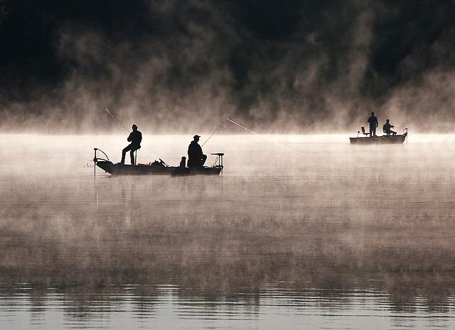 Fishing in Morning Fog by JoAnne Dumas