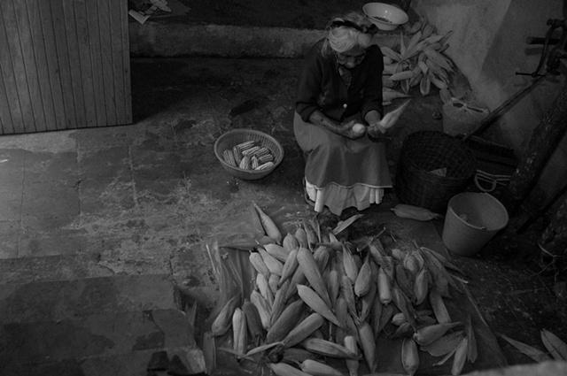 Francisca is preparing corn for tortillas, San Miguel Tzinacapan, Puebla, Mexico
