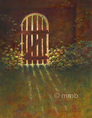 representational oil painting of sunlight through a wooden gate