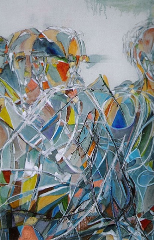 An Interactive/Collage Painting, Detail of Freedom of the Dancing Soul in Blue.