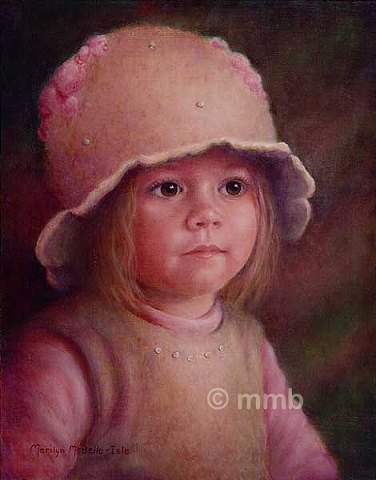 Oil portrait of 19 month old girl wearing a felted hat