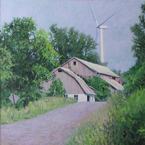 Drexler painting summer landscape barn windmill turbines renewable clean energy sustainable rural economy  near Bouckville Hamilton Madison county, upstate New York.