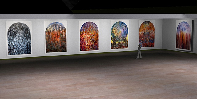 Installation of View of Six Banner Paintings