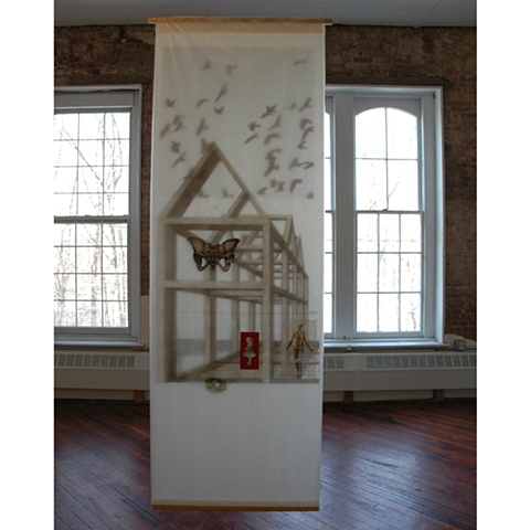 Mixed media installation referencing memory by Cristina de Gennaro.  Installed at the Hat Factory, Peekskill, NY in 2009.