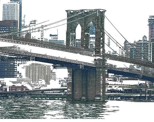 Photo montage of Brooklyn Bridge and NYC