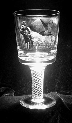 Stipple engraved portrait on a Tudor air twist crystal goblet.