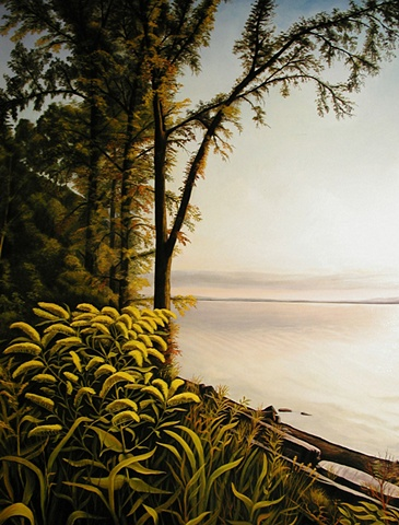 Painting from Pealots Bay looking across Lake Champlain