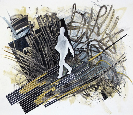 figure walking on a wire bridge in the midst of agitated lines