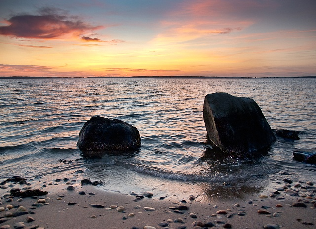 Sunset with Rocks by JoAnne Dumas