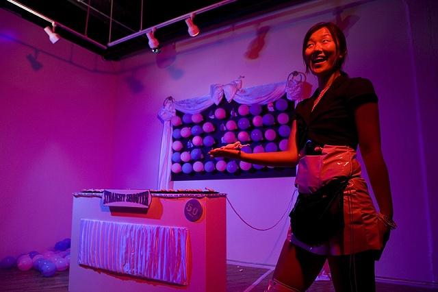 Blown glass fetus', fabric, interactive sculpture, installation, Sexing Games