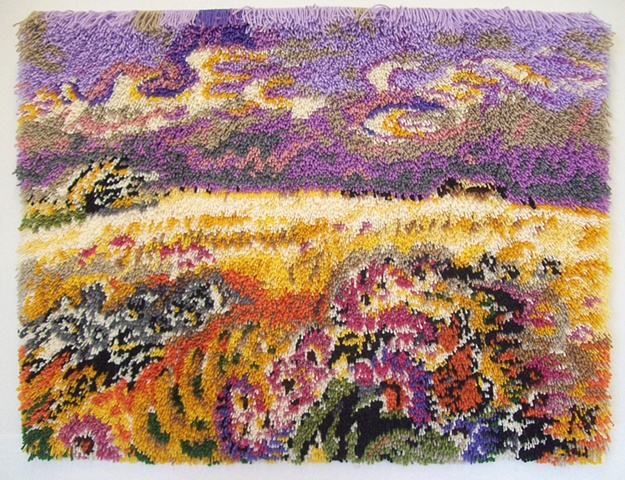 Latch hook rug based on a painting by Charles Burchfield