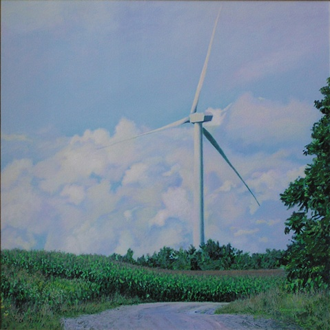 Drexler painting summer landscape windmills turbines renewable clean energy sustainable rural economy near Bouckville Hamilton Madison county, upstate New York.