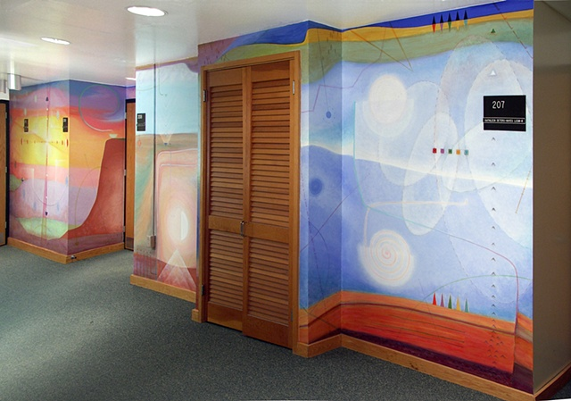 Mural triptych: Substrata, commissioned by Center for Emotion and Behavioral Integration, State University of New York Upstate Medical University, Syracuse NY, 2010