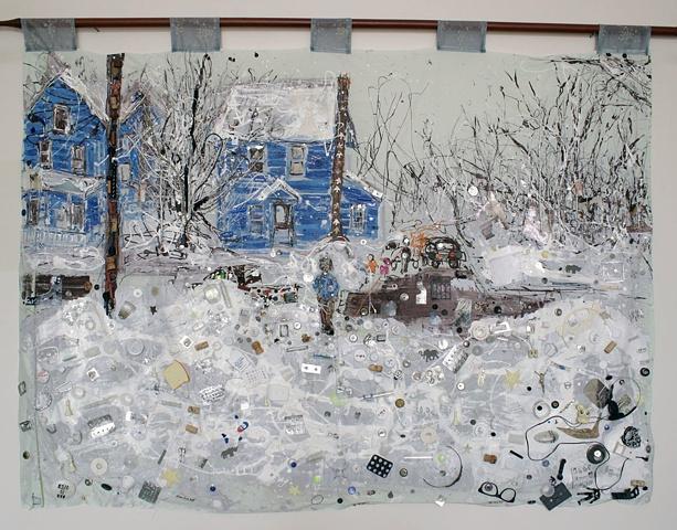 winter, landscape, snow, trash