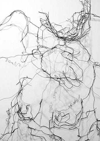 wire sculpture, figurative, words, wall sculpture